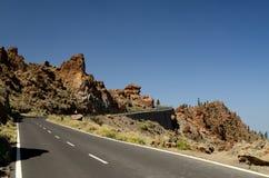 De berg van Tenerife, aard in de bergen, installaties, weg Stock Afbeeldingen