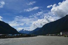 De berg van Tibet landschap-Sonw Royalty-vrije Stock Foto's