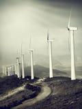 De berg van windmolens Stock Foto's