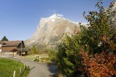 De berg Wetterhorn in Grindelwald Stock Fotografie