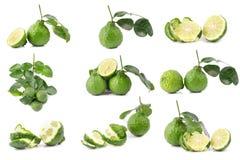 De Bergamot van het bergamotfruit die op witte achtergrond wordt geïsoleerd Royalty-vrije Stock Afbeelding