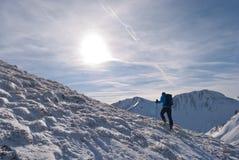 De bergbeklimmer beklimt een berg in Steiermark, Oostenrijk Royalty-vrije Stock Afbeeldingen
