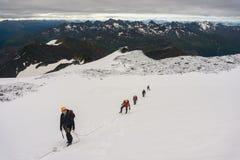 De bergbeklimmers roped omhoog op de gletsjer Royalty-vrije Stock Fotografie
