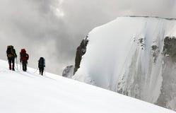 De bergbeklimmers terwijl het beklimmen Stock Foto's