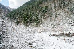 De bergen en de bomen zijn behandeld met sneeuw en wat sneeuw begint te smelten royalty-vrije stock afbeelding