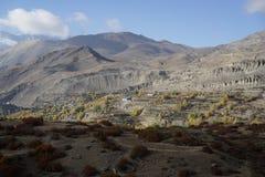 De bergen en de gebieden in Annapurana-Kring stock foto
