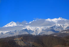 De bergen in Krasnaya Polyana, Sotchi Royalty-vrije Stock Fotografie