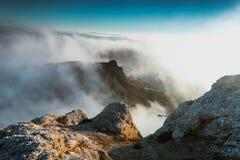 De bergen in mist 7 Stock Foto's