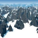 De bergen van Achtergrond vectorwinter Zwitsers alpen textuur naadloos patroon vector illustratie