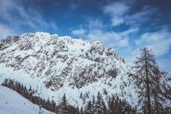 De bergen van de Alp van Oostenrijk in de winter stock foto's