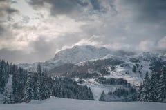 De bergen van de Alp van Oostenrijk in de winter stock afbeeldingen