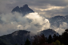 De bergen van alpen, Zugspitze Stock Afbeeldingen