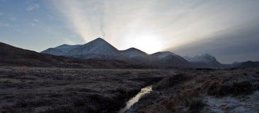 De Bergen van Cullin op het eiland van Skye Schotland Stock Foto