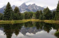 De Bergen van Grand Teton die in Vijver worden weerspiegeld Royalty-vrije Stock Afbeeldingen