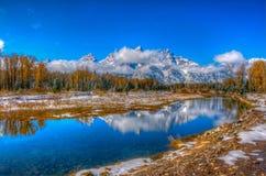 De bergen van Grand Teton in Wyoming stock afbeeldingen