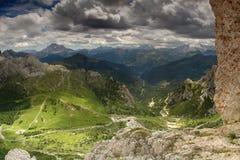 De bergen van het dolomiet toneel stock foto