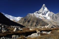 De bergen van Himalayagebergte, Shivling Stock Fotografie