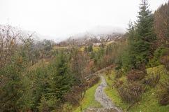 De bergen van de Kaukasus en wandelingsweg stock afbeelding