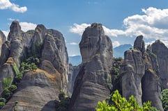 De bergen van Meteora in Griekenland Royalty-vrije Stock Afbeeldingen