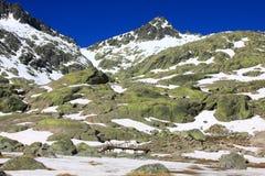 De bergen van sneeuwgredos in avila Stock Foto