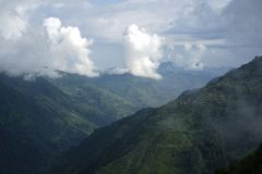 De bergengebieden in Annapurna-Kring Royalty-vrije Stock Afbeeldingen