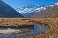 De Bergenvallei van de Kaukasus van een bergrivier stock afbeeldingen
