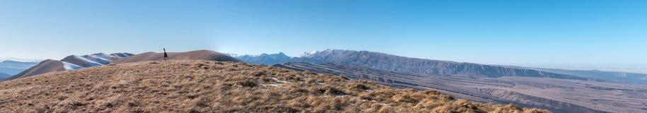 De bergketen van de Kaukasus Het hoogste punt, de piek Panora Royalty-vrije Stock Foto