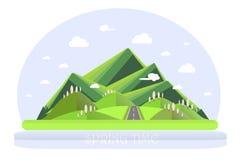 De berglandschap van de lente Groene heuvels, blauwe hemel, witte wolken, groene bomen, grijze weg vector illustratie