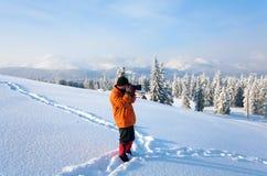 De berglandschap van de winter royalty-vrije stock foto's