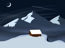 De berglandschap van de de winternacht met een bos en eenzaam huis die zich over een klip bevinden Eenvoudige vlakke vectorillust vector illustratie