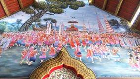De bergmanier van muurschilderingthailand van het leven en geloof in Boeddhisme Stock Afbeeldingen