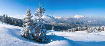 De bergpanorama van de winter Stock Afbeeldingen