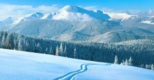 De bergpanorama van de winter met skispoor Stock Fotografie