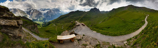 De bergpanorama van Grindelwald Royalty-vrije Stock Afbeeldingen
