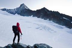 De bergpiek van de klimmer royalty-vrije stock afbeelding