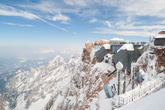 De bergpost van Zugspitze Stock Afbeeldingen