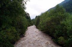 De bergrivier is lawaaierig, snel, gevaarlijk royalty-vrije stock foto