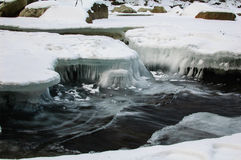 De bergrivier loopt vlug onder een dikke korst van ijs royalty-vrije stock afbeelding