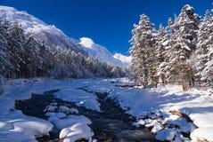 De bergrivier van de winter Royalty-vrije Stock Foto's