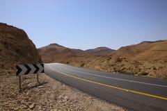 De bergweg van de woestijn - Israël, Dode Overzeese weg Stock Foto