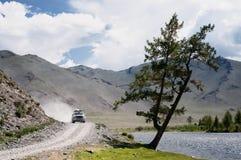 De bergweg van de woestijn in Mongolië Stock Fotografie