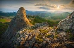 De bergzonsondergang van de Krim Stock Foto's