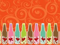 De berichten van de liefde in flessen Royalty-vrije Stock Afbeeldingen