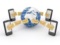De berichten van Sms, mobiele telefoon en aarde. Stemming SMS Stock Fotografie