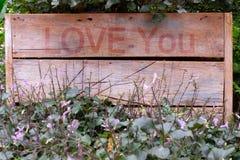 De berichtliefde die u op houten vakje hebt gespeld Stock Foto's