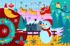 De berijdende die ar van Santa Claus door rendier in Vrolijke Kerstmis wordt getrokken Royalty-vrije Stock Fotografie