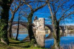De beroemde Brug van Avignon riep ook Pont heilige-Benezet in Avignon royalty-vrije stock afbeelding