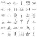 De beroemde geplaatste plaatspictogrammen, schetsen stijl Royalty-vrije Stock Afbeeldingen
