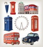 De beroemde gezichten van Londen en retro elementen van stadsarchitectuur Royalty-vrije Stock Foto