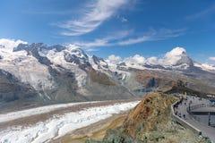 De beroemde Gorner-Gletsjer in HDR, tweede - grootste gletsjer in Stock Afbeelding